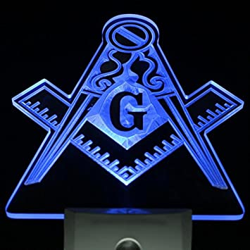 ws0021 Masonic Mason Freemason Emblem Day/ Night Sensor Led Night Light Sign