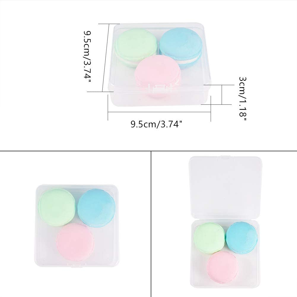 BENECREAT 24 Pack 1.38x1.38x0.7 Inches Square Mini Clear Plastic Bead Storage Containers Box Case with Lid for Items,Earplugs,Pills,Tiny Bead,Jewelry Findings