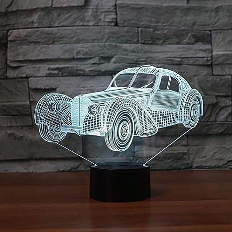 Lampara 3D,Novedad Sport Car 3D Night Lamp Touch 7 Colores Led Usb 3D Night Lights Habitación De Los Niños Atmósfera Lámpara Juguetes Luces De Decoración