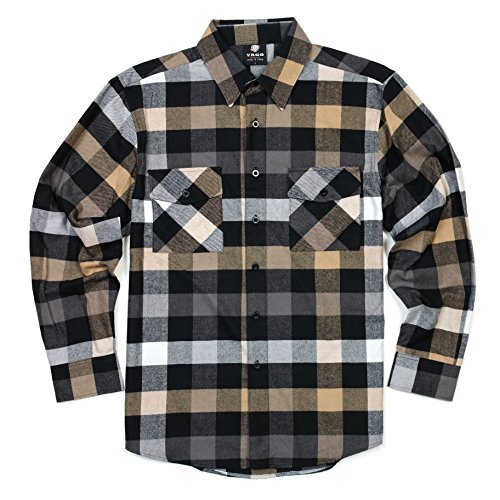 YAGO Men's Long Sleeve Flannel Plaid Button Down Shirt YG2508 (Gray/Brown/White, ()