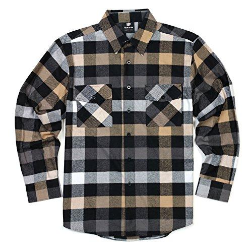 YAGO Men's Long Sleeve Flannel Plaid Button Down Shirt YG2508 (Gray/Brown/White, - Flannel Shirt Big Plaid