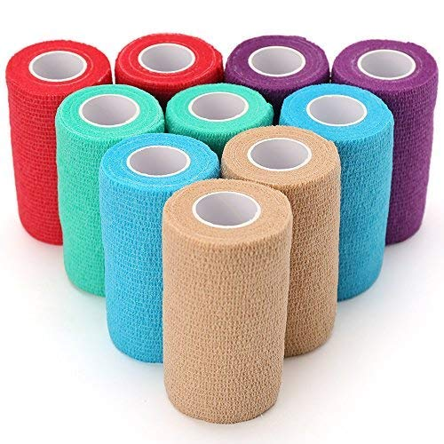 LotFancy Vet Self-Adherent Wrap - Cohesive Bandage Tape for Dog Cat Pet Horse, 10 Rolls, Assorted Colors, FDA Approved, 4 Inches x 5 Yards