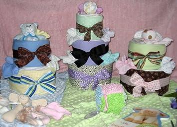 Amazon.com: 2 niveles Shabby Chic tarta de pañales bebé ...