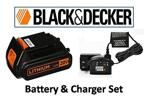 Black+Decker 20V Lithium-Ion Battery & Carger Set (2 - YEAR WARRANTY ExpressUSA Extended Warranty Black Bulk Pack)