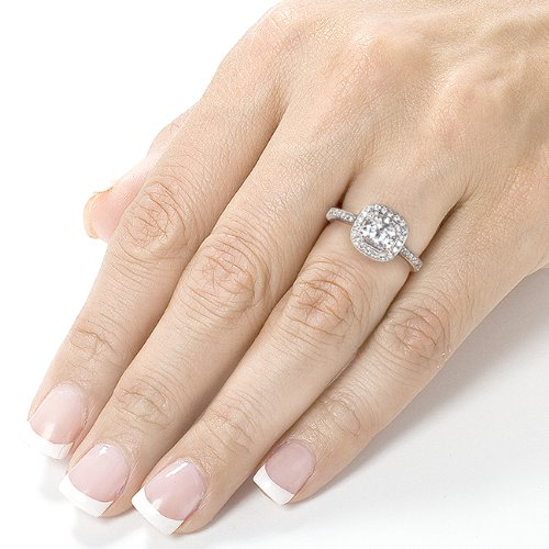 Forever Brilliant Cushion-cut Moissanite and Halo Diamond ...