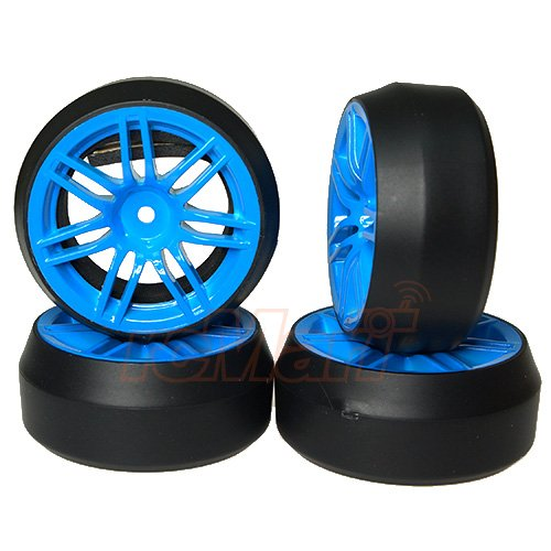 Rib Wheel - Yeah Racing Spec D 7 Spoke 2 Ribs Wheel Offset +3 Blue w/Tire 4pcs For 1/10 Drift #WL-0082