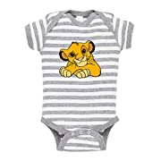 Cute Rascals Baby Lion King Animals Baby Combed Ring-Spun Cotton Stripe Fine Bodysuit One Piece - White Gray, Newborn