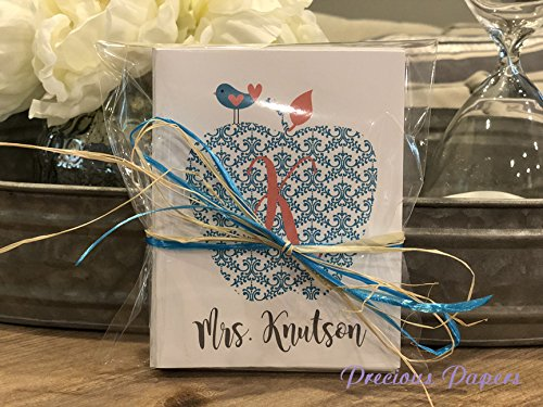 Personalized Teacher Note Cards - Personalized Teacher note cards, teal and coral damask apple note cards make a great teacher gift teal and coral monogrammed notecards note cards