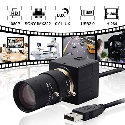 AILIPU Webcam 1080P Manual 5-50mm Varifocal Lens Low Illumination USB Camera Sony IMX322 Sensor Web Camera for Android/Linux/Windows Industrial ()
