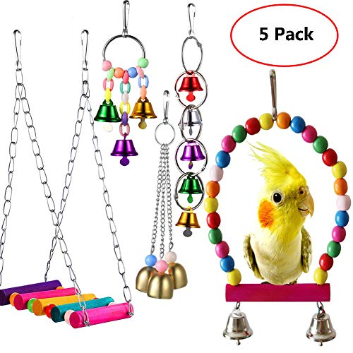 - Parakeet Toys ,Bird Cage Accessories Hammock Bird Swing Toys Hanging Perch,Cages Decorative Accessories for Small Parakeets Cockatiels, Conures, Macaws, Parrots, Love Birds, Finches
