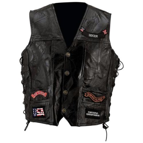 Diamond PlateTM Rock Design Genuine Buffalo Leather Vest (Medium)