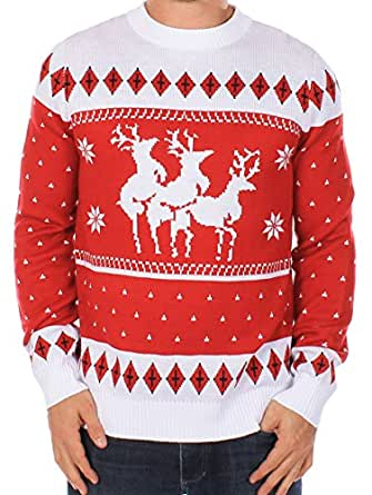 Ugly Christmas Sweater - Reindeer Menage a Trois Sweater by Tipsy Elves (XXL)