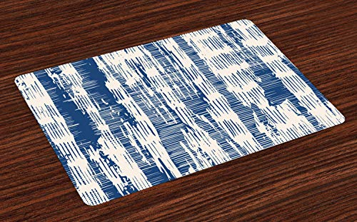 Ambesonne Batik Place Mats Set of 4, Abstract Stripy Pattern with Grunge Effect Folkloric Rustic Design Print, Washable Fabric Placemats for Dining Room Kitchen Table Decor, Navy Blue and Cream ()