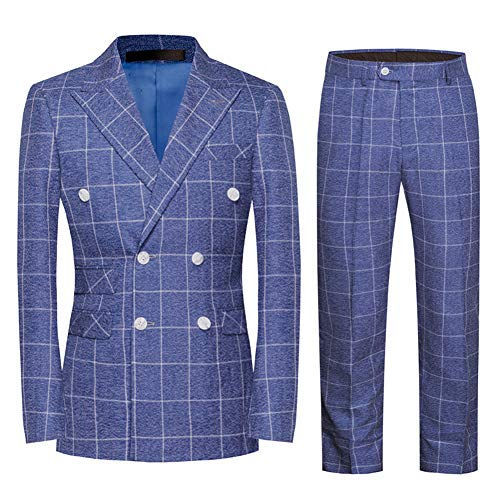 Mens Plaid 3 Piece Suits Double Breasted Retro Slim Dress (Large, Blue)