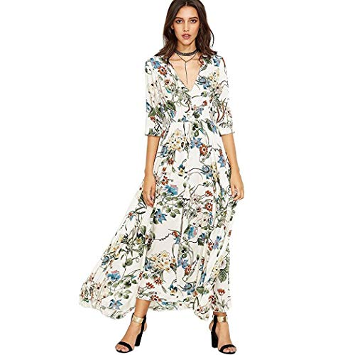 Pagacat Women Casual V Neck Half Sleeve Floral Bowknot Front Split Long Dress Dresses White