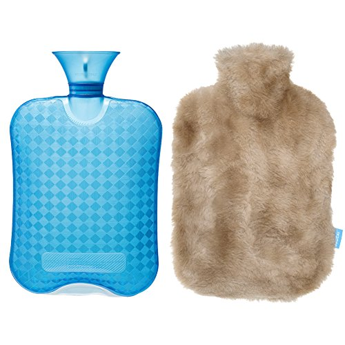DUOCAI Rubber Hot Water Bottle with Super Soft Fur Cover for Pain,for Stomach 2L (Light ()