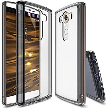LG V10 Case, Ringke [Fusion] Crystal Clear PC Back TPU Bumper w/ Screen Protector [Drop Protection/Shock Absorption Technology] For LG V10 - Smoke Black