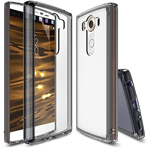 LG V10 Case, Ringke [Fusion] Crystal Clear PC Back TPU Bumper w/ Screen Protector [Drop Protection/Shock Absorption Technology] - Smoke Black by Ringke