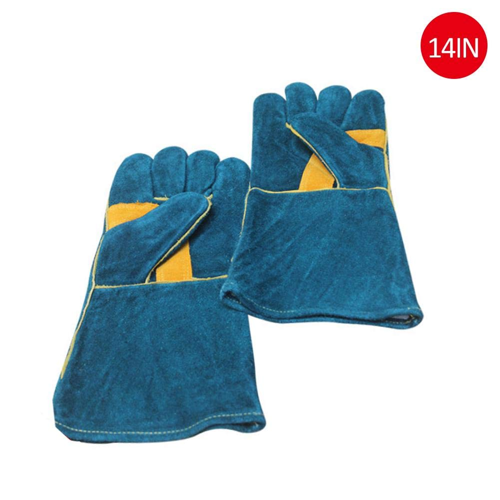 Welltobuy Multifunctional Gloves Cowhide Protective Gloves Microwave Barbecue High Temperature Resistant Wear-Resistant Electric Welding General Gloves, Dark Green Welltobuy-555