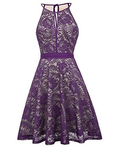 Women Formal Homecoming A Line Wedding Dress, Purple, X-Large (Bridal Dress Purple)