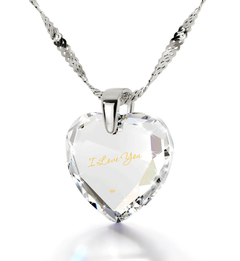 925 Sterling Silver I Love You Necklace 24k Gold Inscribed on White Cubic Zirconia Heart Pendant, 18''