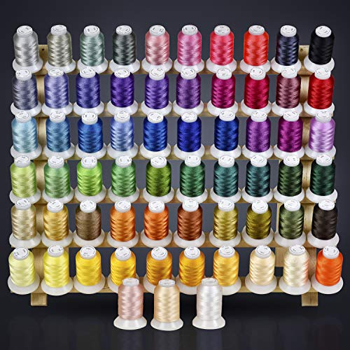 63 Brother Colors Embroidery Machine Thread Set 120D/2 40weight for Brother Babylock Janome Singer Pfaff Husqvarna Bernina Machines (Best Inexpensive Embroidery Machine)