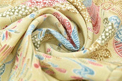 リサイクル 小紋 中古 化繊 単衣 こもん 風景文様 裄62cm ベージュ系 裄Sサイズ 身丈SSサイズ ll0576c