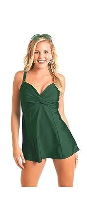 cabc50e5f83e4 Carol Wior 9-3091 Twist Front Swimdress Swimsuit With Control (Size ...