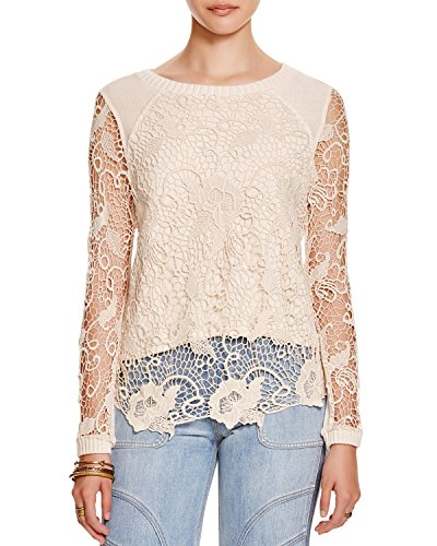 Free People Crochet Back Top - Free People Women's Rad Crochet Pullover Top (Small, Champagne)