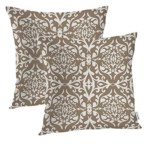 Batmerry Paisley Pillow Covers 18x18 Inch Set of 2, Beautiful Beige Vintage Paisley Pattern Double Sided Decorative Pillows Cases Throw Pillows Covers