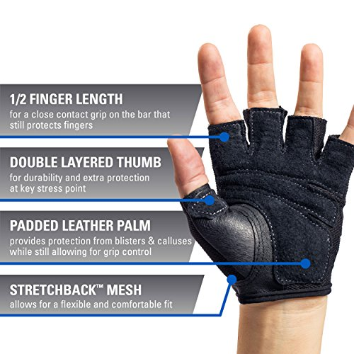 Harbinger Women's Power Weightlifting Gloves with StretchBack Mesh and Leather Palm (Pair)
