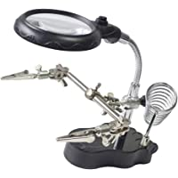 Blesiya Helping Hand Magnifying Glass with LED Lights and Soldering Stand 3X/12X Dual Lens LED Lighted Soldering Stand for Soldering,Work,Hobby,Craft