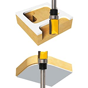 Meihejia 1/4 Inch Shank Pattern Flush Trim Router Bit Set (4 Sizes) (Color: Yellow)