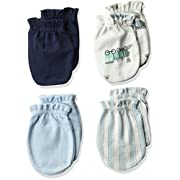 Luvable Friends Baby Scratch Mittens, 4 Pack, Blue Trains, 0-6 Months