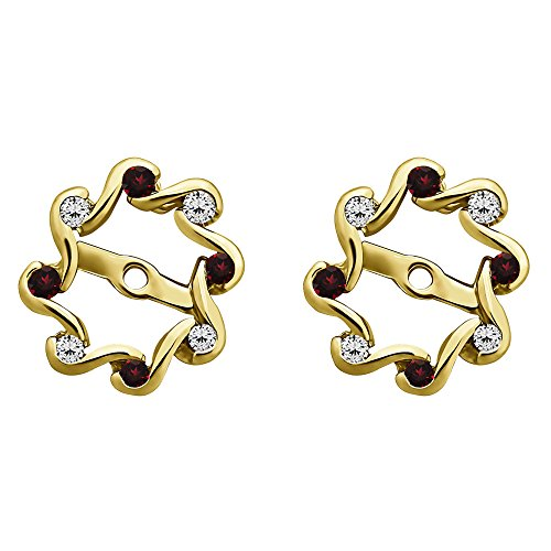 1/4 ct. Diamonds (G-H,I1-I2) and Ruby Genuine Ruby and Diamond Everlasting Earring Jacket in 10k Yellow gold (0.24 ct. twt.) by TwoBirch