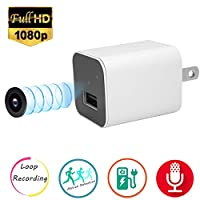 Mini Hidden Video Camera,Esrover 1080P USB Wall Charger Nanny Cam with Motion Detection and Loop Recording (White)(Not included SD card)