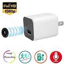 Hidden Camera,Esrover 1080P USB Wall Charger Nanny Cam with Motion Detection and Loop Recording(Not included SD card)