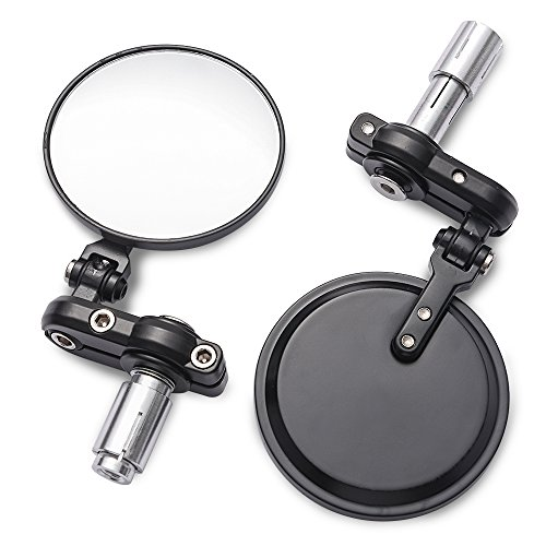 MICTUNING Universal Motorcycle Mirrors - 3 Inch Round Folding Bar End Side Mirror for Honda, Scooter, Suzuki, Yamaha, Kawasaki, Victory, Harley Davidson and More ()