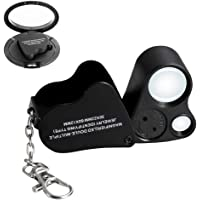 Jiusion 30X 60X Portable Lighted LED Illuminated Jewelry Magnifier Wearable Handheld Dual Lens Eye Loupe Magnifying…