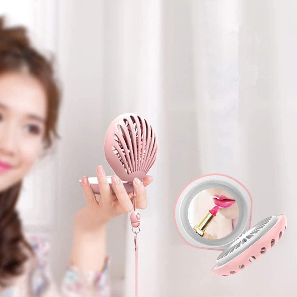 Portable USB Rechargeable Fan with Makeup Mirror Dracitess Hanging Neck Mini Fan Shell Handheld Student Fan White