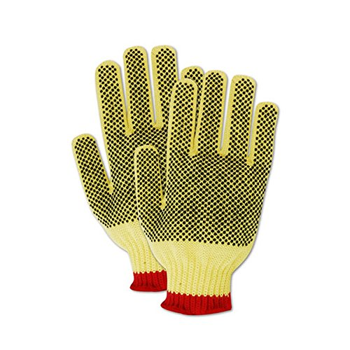 Magid Glove & Safety C93KVPR-9 Magid Cut Master C93KVPR 100% Kevlar PVC Dotted Gloves with Cotton Edge - Cut Level 3, 6, Yellow, 9 (Pack of 12) by Magid Glove & Safety (Image #3)