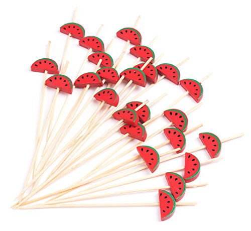 "PuTwo Cocktail Picks Handmade Bamboo Toothpicks 100pcs 4.7"" in Watermelon Decor"