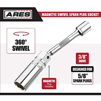 ARES 70190-3/8-Inch Drive by 5/8-Inch Magnetic Swivel Spark Plug Socket - 6-Inch Swivel Extension Permits Access to Most Confined Areas: Automotive