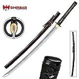 Shinwa Royal Emperor Handmade Katana / Samurai Sword - Hand Forged Damascus Steel, Hamon - Razor Sharp, Full Tang - Fully Functional, Ninja Tough - Genuine Ray Skin, Cord Wrap, Custom Tsuba