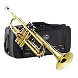 Eastrock Gold Trumpet Brass Standard Bb Trumpet Set for Beginnner, Student with Hard Case, Gloves, 7C Mouthpiece, Trumpet Cleaning Kit-Lacquer Gold: more info