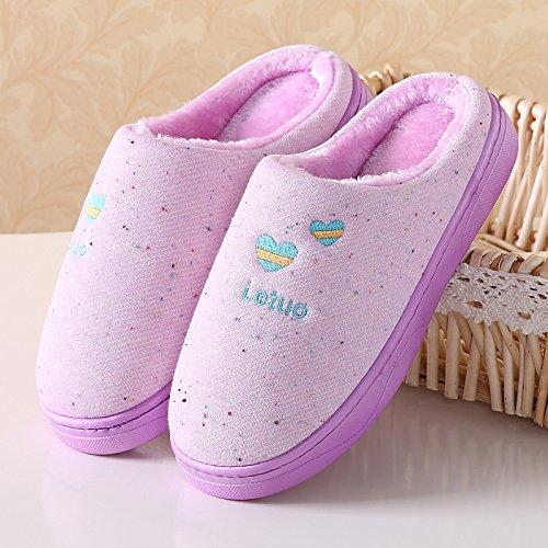 Y-Hui Inicio zapatillas de algodón de invierno femenina par la mitad caliente envuelta con engrosamiento antideslizante en la parte inferior los zapatos de los hombres en invierno,40/41 (Recomendado 39/40) de desgaste,6635- rosa 40/41 (recommended