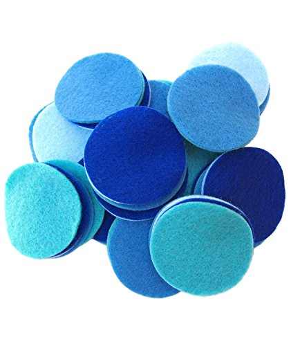 (Playfully Ever After 2 Inch 58pc Felt Circles Color Combo Pack with Blue, Turquoise, Light Blue, Militia Blue)