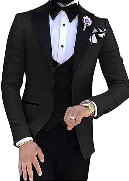 Amazon.com: Trajes de boda para hombre de 3 piezas, con ...
