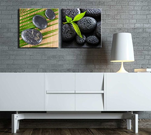 Two Piece Rocks Over a Palm Tree Leaf and Bamboo Along with Rocks with Raindrops on 2 Panels