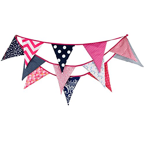 INFEI 3.5M/11.5Ft Multi-colored Floral Fabric Triangle Flags Bunting Banner Garlands for Wedding, Birthday Party, Outdoor & Home Decoration (Pink & ()